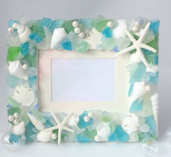 Sea Glass and Shell Frame for Beach Decor  by beachgrasscottage, $99.00