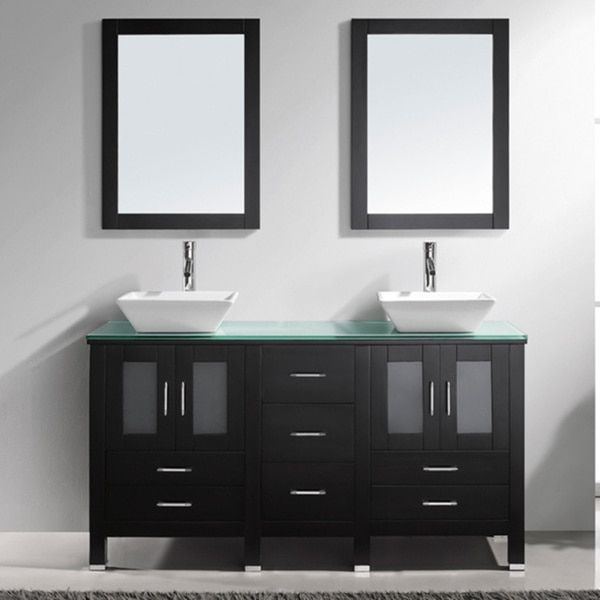 Virtu USA Bradford 60-inch Double Sink Bathroom Vanity Set - Free Shipping Today - Overstock.com - 13299261 - Mobile