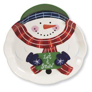 Christmas Reusable Plastic Serving Trays - Snowman