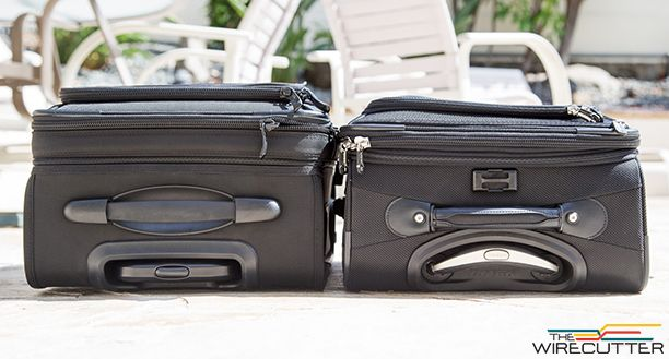 A side-by-side comparison of the Kirkland (left) and Travelpro luggage.