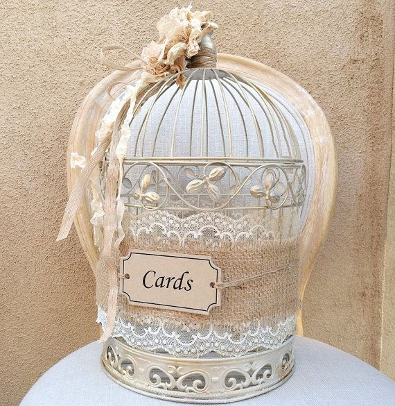 Birdcage Card Holder Shabby Chic Birdcage by LuckyYouLuckyMe