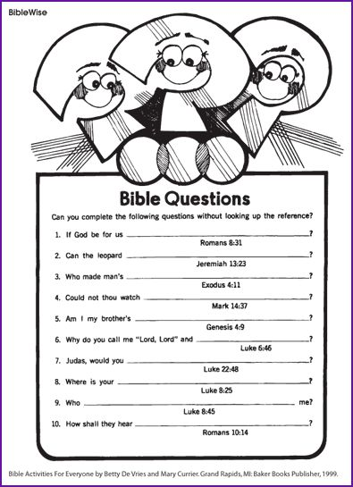 Answer the Bible Questions - Kids Korner - Biblewise ...