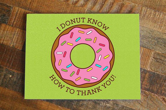 Funny Thank You Card Donut Pun Card Thank you note by TinyBeeCards