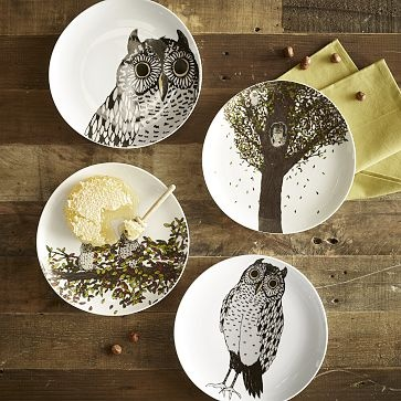 I love the Owl Dessert Plates - Autumn on westelm.comWestelm, Decor Ideas, Owls Desserts, Fall Table, Desserts Plates, Architecture Interiors, Fall Decorating, Decorating Tips, West Elm
