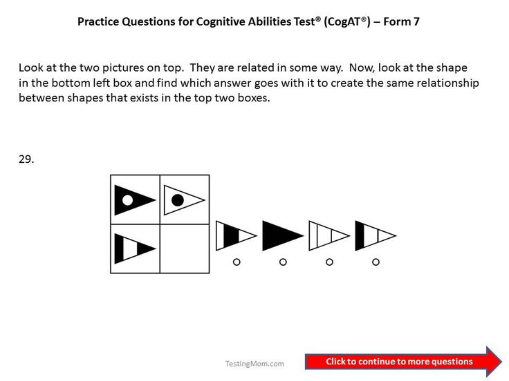 CogAT Form 7 practice questions for 1st to 2nd grade