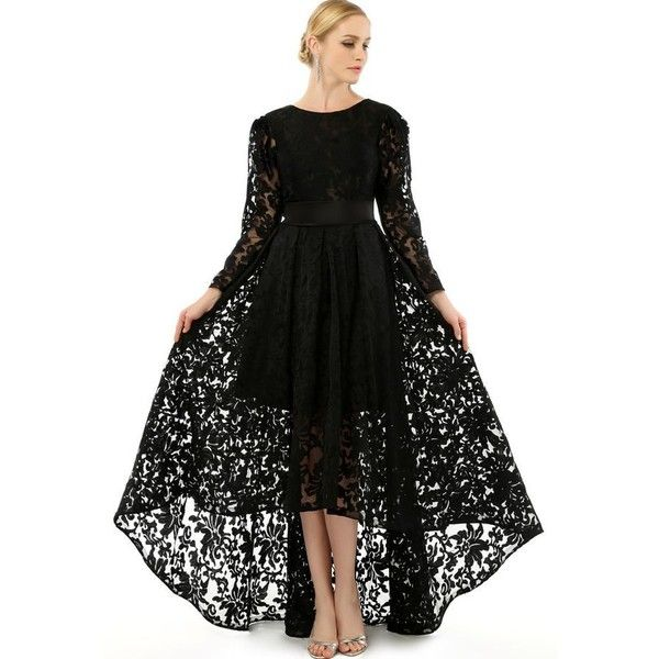 2015 Prom Dress With Long Sleeves Lace Plus Size Formal Gowns Vintage... ❤ liked on Polyvore featuring dresses, gowns, black lace gown, long sleeve prom dresses, plus size evening gowns, black lace dress and long sleeve black dress