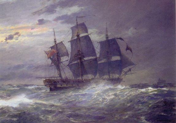 HMS Indefatigable giving chase
