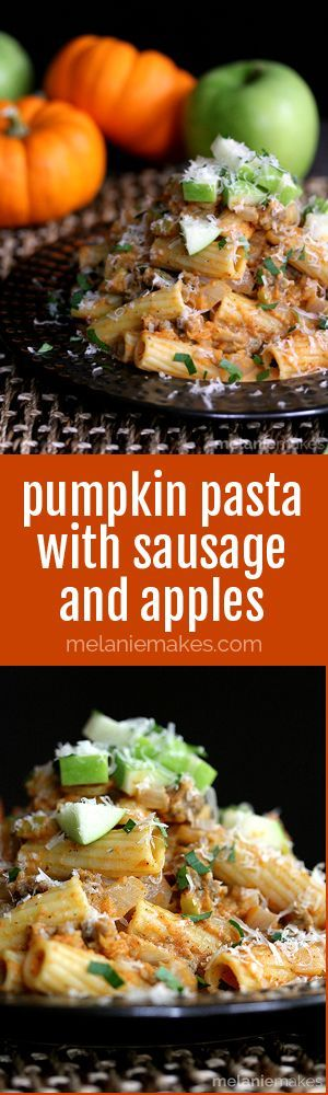 This Pumpkin Pasta with Sausage and Apples screams Fall harvest.  Sausage, apples and onions stud a rich pumpkin cream sauce flecked with cinnamon and nutmeg.  This mountain of deliciousness is then topped with a blizzard of Parmesan cheese, parsley and additional apple for a picture perfect presentation.
