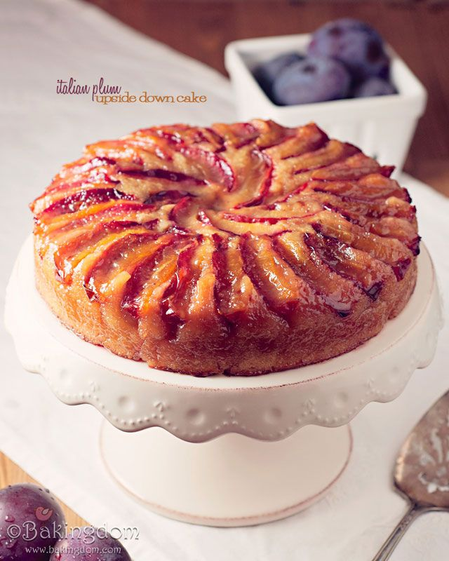 Italian Plum Upside Down Cake by Bakingdom    Wonderful with a little drizzle of heavy cream or half and half.