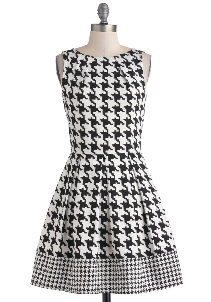 A-line Dress in Houndstooth