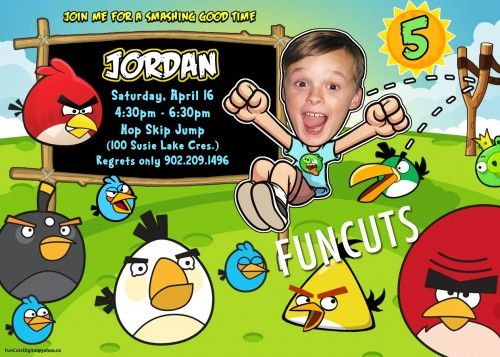 Angry Birds Invitation, Go Car, Kids Birthday Invitation, Kid Invites