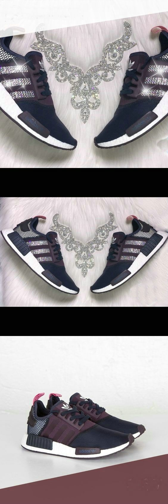 Over Half Off New Arrival 2017 June Authentic Adidas NMD Sneakers Black Gold White Adidas Sripes logos SWAROVSKI Crystals Shoes 2017