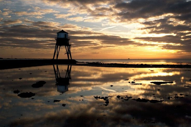 Sunrise at the Old Victorian Lighthouse, Harwich, England.