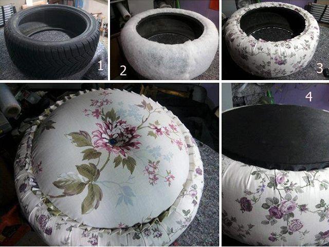 Не торопитесь покупать для дачи новую мебель, попробуйте сделать ее самостоятельно. Творческие натуры придумали, как из шин сделать красивые пуфик. Теперь вы можете оборудовать уютный уголок для отдыха с минимальными затратами.