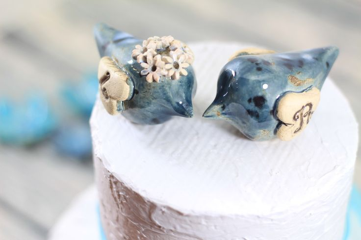 Love bird cake topper Initials cake topper Wedding cake topper Blue wedding by CeramicsByOrly on Etsy https://www.etsy.com/listing/238422968/love-bird-cake-topper-initials-cake