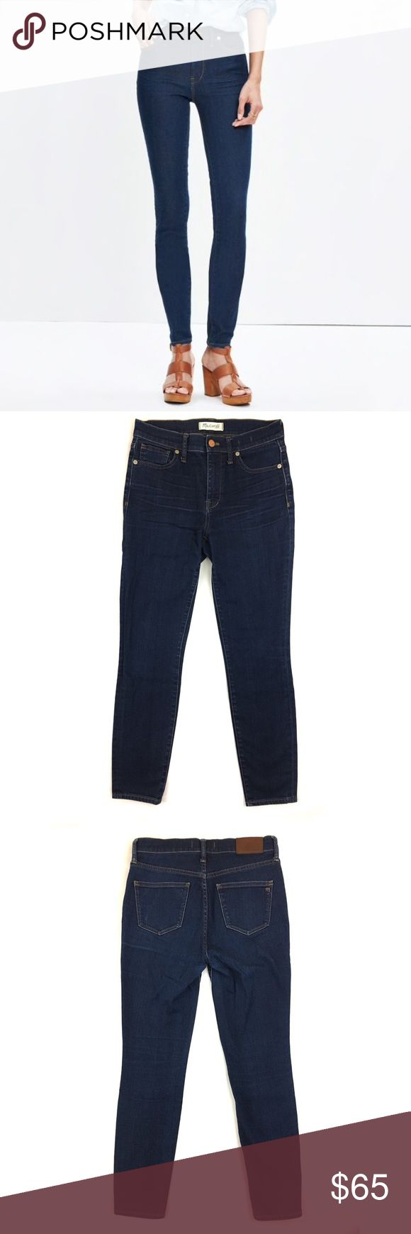 """•{Just In}• Madewell 9"""" High-Rise Skinny Jeans Madewell's High-Rise Skinny Jean in Davis wash.  Lean and sexy with a 9"""" rise (right in '70s rock-muse territory), this one's legs-for-days look and supersleek effect come from using some of the best denim in the world.  Features a copper button, matte silver rivets, and contrast stitching.  Davis wash is a dark indigo wash with a lovingly worn-in look.  Size:  27  Condition:  No visible flaws, minimal signs of wear — EUC  Fabric content:  92%…"""