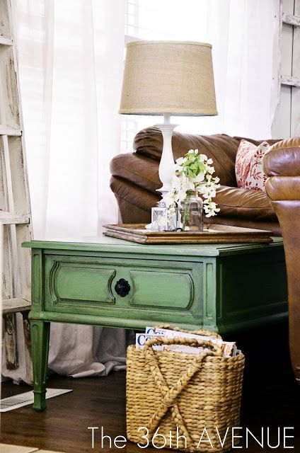 Fantastic tutorial on how to antique that perfect bold piece. | The 36th AVENUE | Greenlicious End Table TUTORIAL.