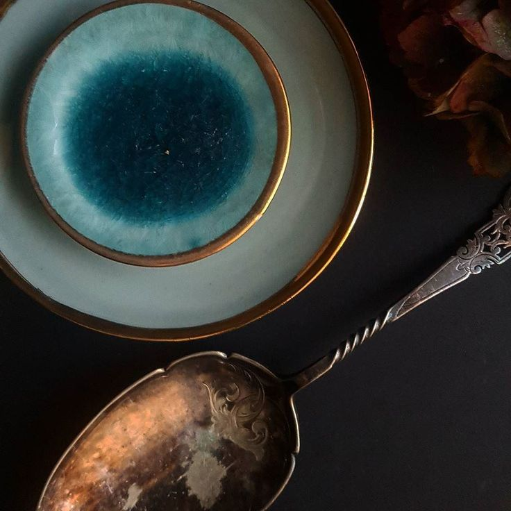 Blue gold and tarnished silver.  #babsbelshawceramics