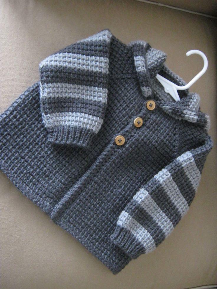 Chrochet Baby Boy Свитер с капюшоном темно-серый с ForBabyCreations