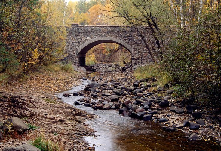 One of the bridges on historic Seven Bridges Road along Amity Creek in Duluth, Minnesota.