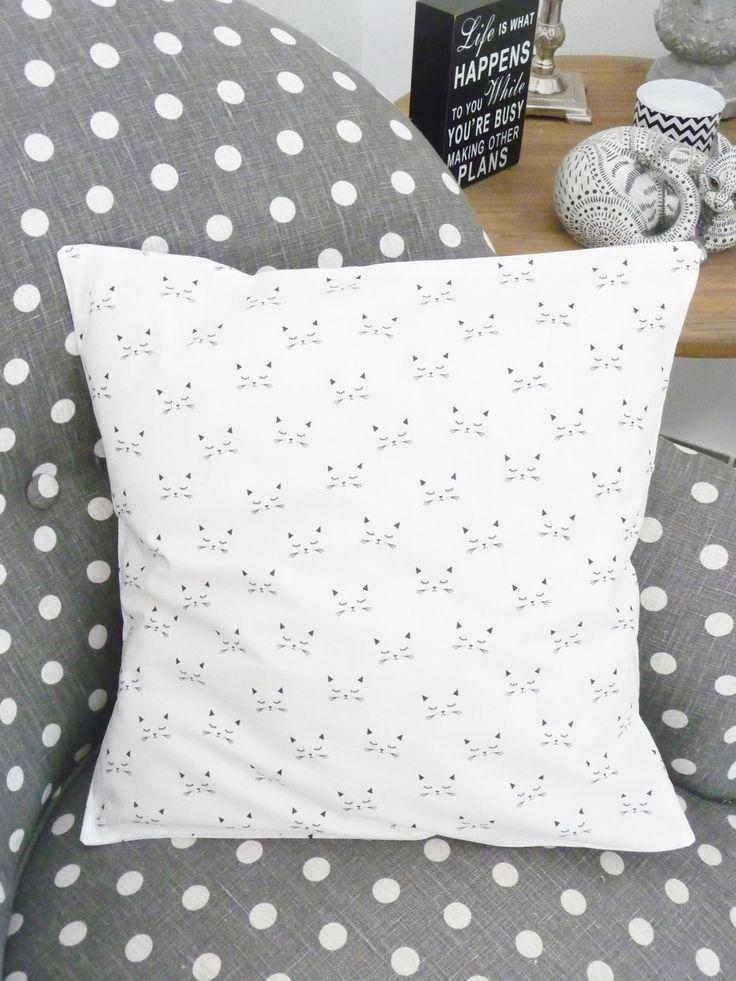 Housse de coussin 40x40, tête de chat noir et blanc : Textiles et tapis par…