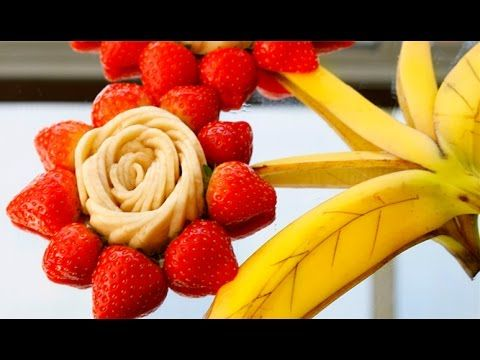 How to Make Banana Flower - Fruit Carving Garnish - Sushi Garnish - Food Decoration - YouTube