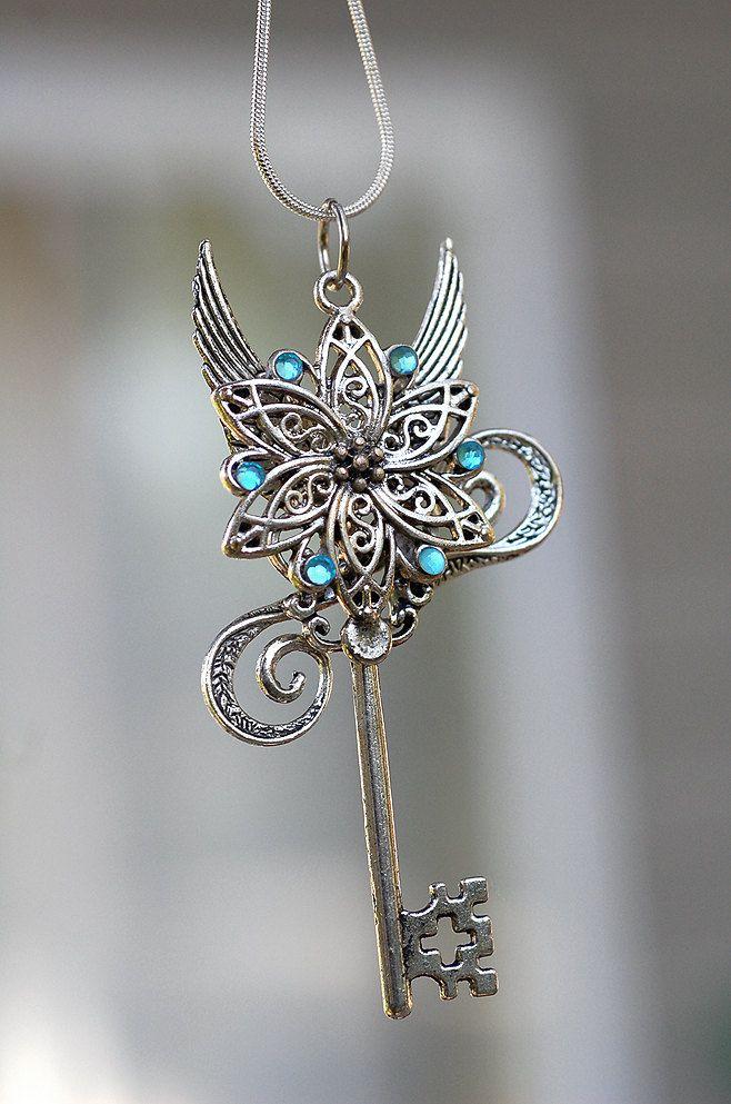 Celtic Flower Key Necklace. $35.00, via Etsy.