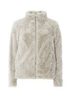 Womens Light Grey Faux Fur Coat- Silver