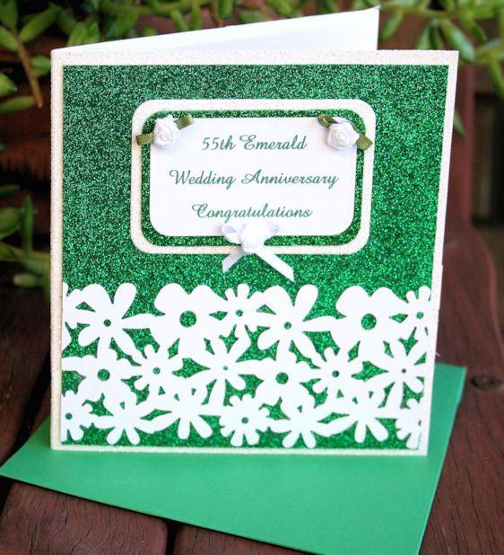 55th Emerald Wedding Anniversary Glitter Card  by CardsbyCoralJean