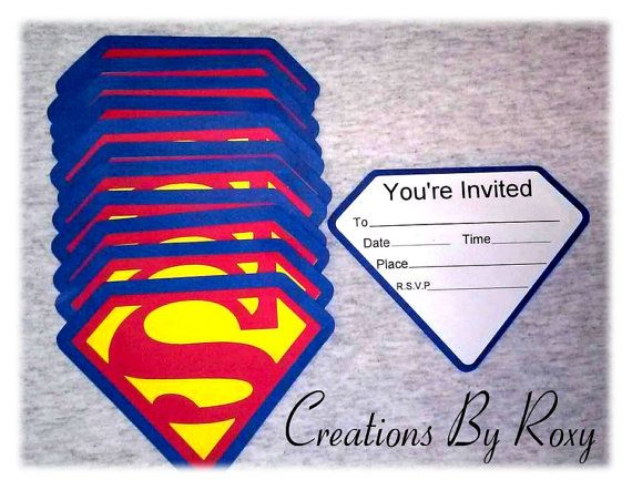 Set de invitaciones de Superman de 12 por CreationsbyRoxy en Etsy