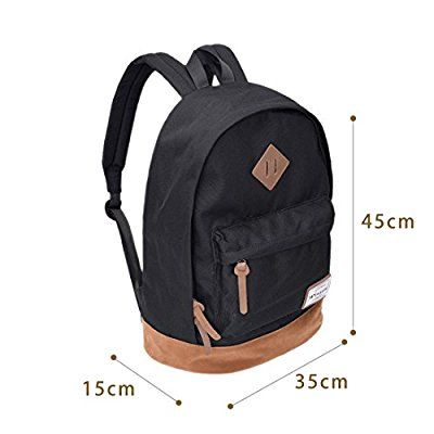 Rucksack Schwarz Schulrucksack Jugendliche Backpack Rucksäcke mit Laptopfach für Camping Outdoor Sport