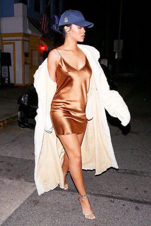 Rihanna dress & baseball cap