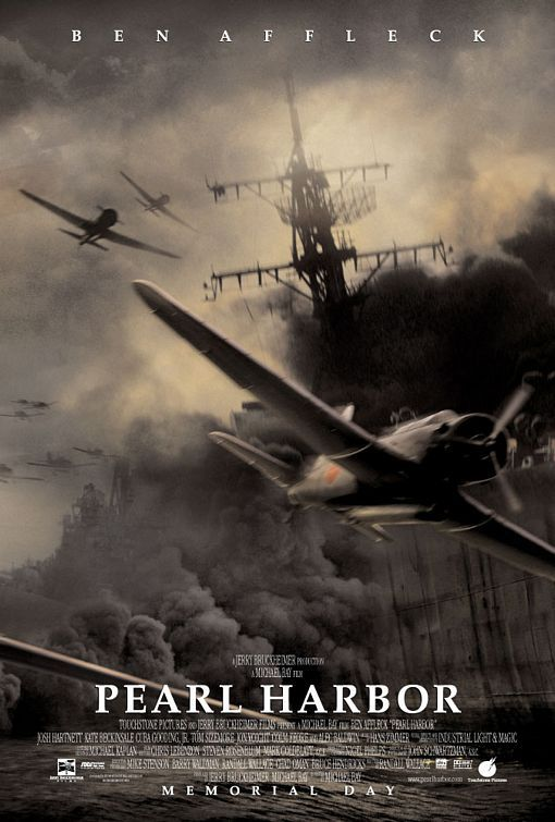 Pearl Harbor Movie Poster....this was the first movie my daughter went to in the theater. She was three months old and my parents took her with them on their 26th anniversary because I couldn't get the night off from work. My mom said she slept through all the deep charge explosions.