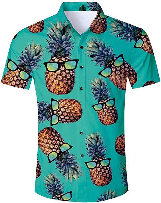 4b7e0fe03 Amazon.com: TUONROAD Adult Youth Casual Relaxed Traditional Tropic Aloha  Hawaiian Shirt Turquoise Yellow Pineapple Ananas With Sun Glasses Vintage  Luau ...