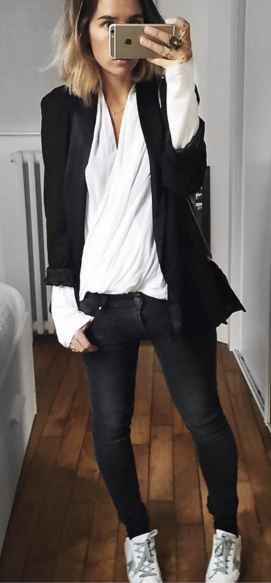 A white blouse, black blazer, dark skinny jeans and Golden goose- key pieces for a core wardrobe.