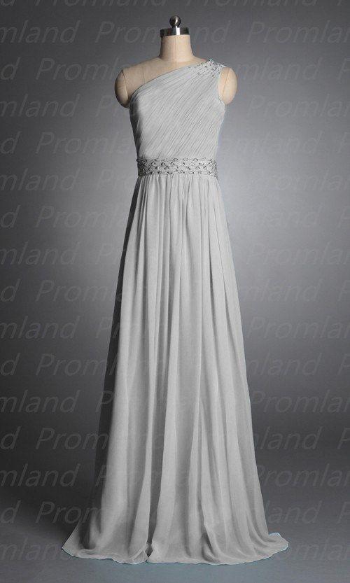 Silver beading chiffon long prom/bridesmaid/party dress sheath floor length/simple/ $99