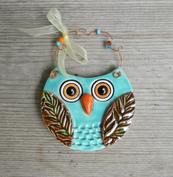 Aqua Ceramic Owl Ornament