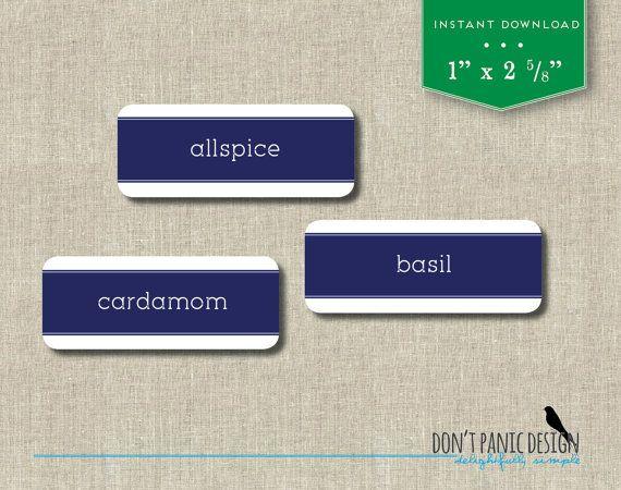 DIY Printable Spice Jar Labels - Simple Fun Font Navy Blue Stripe Spice Jar Labels - Home Organizing Stickers - Instant Download