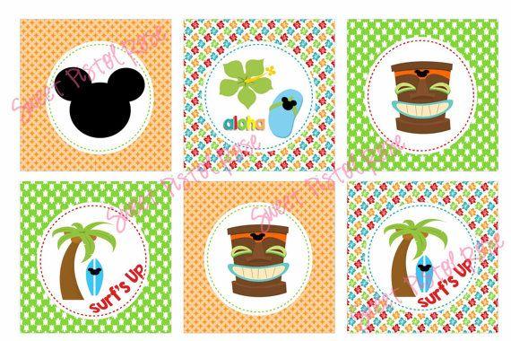 Tiki Birthday  Mickey Luau  Cupcake Toppers by SweetPistolRose