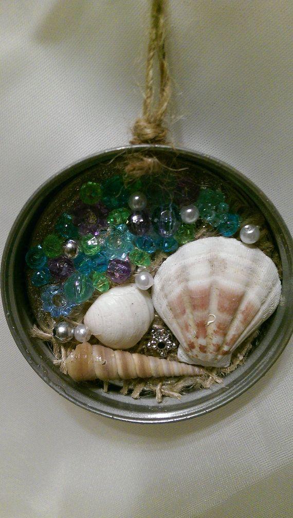 Mason Jar Lid Seashell and Mermaid Ornament by AlteredTreasureShop pin4etsy