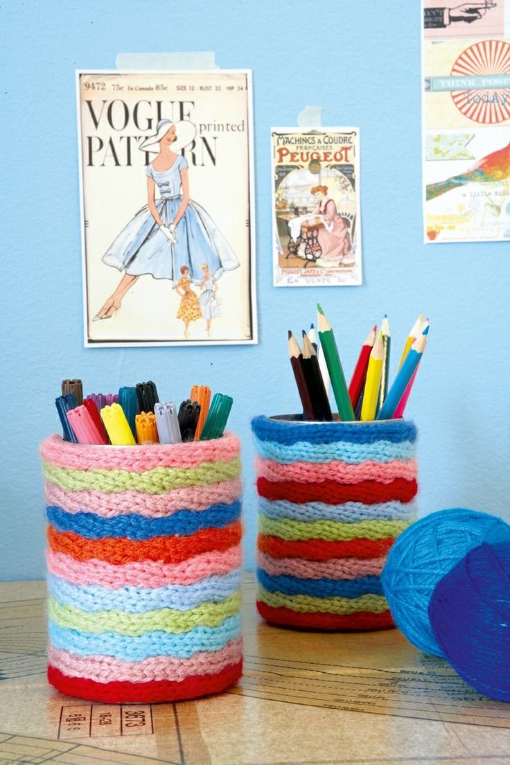 DIY: canister covers with french knitting doll