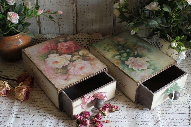"""Купить """"Розы"""" коробочки - комбинированный, розы, короб для хранения, короб для кухни, короб для подарка"""