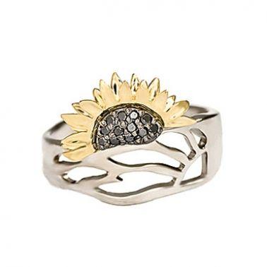 Золотое кольцо с черными бриллиантами Подсолнух