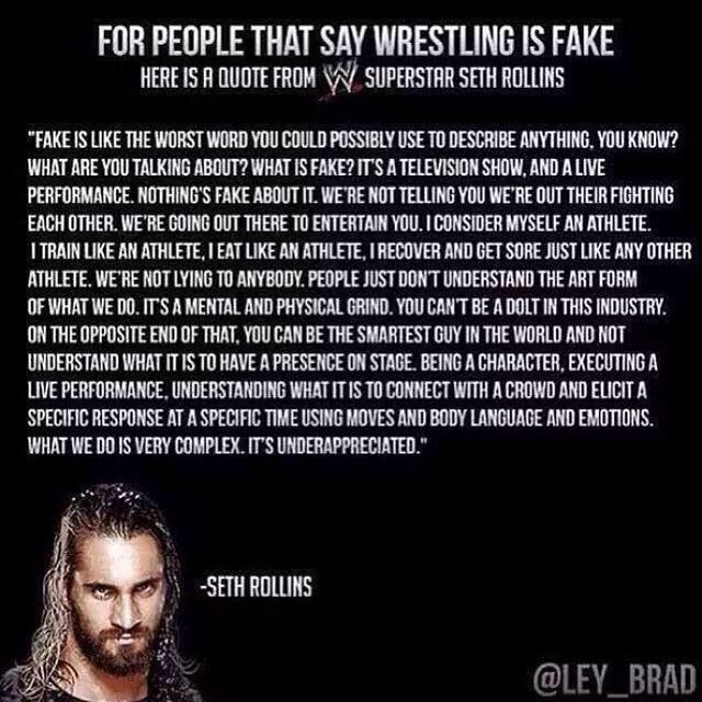 WWE Seth Rollins (of The Shield) Quote I hate when people say its fake, it's a story line and like any other story line it's STAGED not fake. The pain is real, the blood, scars, and bruises are real.