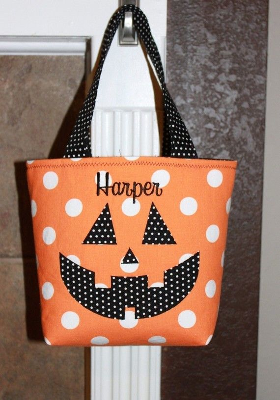 Personalized Halloween Trick Or Treat Bag by firstcrushdesigns, $25.00