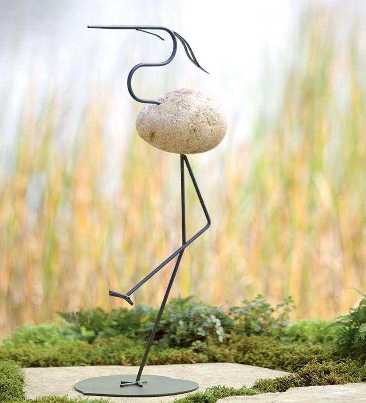 Fieldstone Heron Garden Art concrete idea? drill and glue idea?