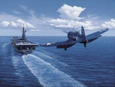 """F-4 Corsair landing on an aircraft carrier near the Phillippines.The Corsair, known as the """"Whistling Death"""" to the Japanese and the """"Bent Wing Widow Maker"""" to the Marines, was delivered in March 1943 in time to have eight Marine squadrons available for the New Georgia campaign. The Corsair, along with the new F6F Hellcat fighter, dominated the air-to-air battle to sweep the skies of the Japanese. This superiority was enhanced by Army Air Corps aircraft, the Lockheed P-38 Lightning,"""