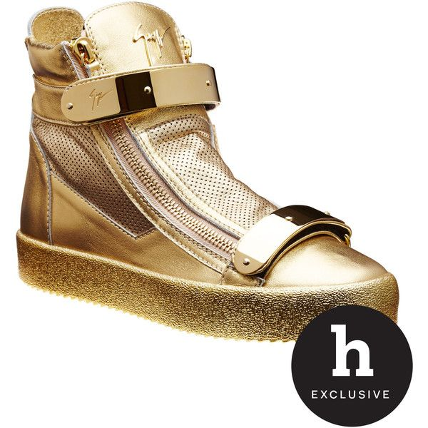 Gold High-Tops (£740) ❤ liked on Polyvore featuring men's fashion, men's shoes, men's sneakers, mens gold sneakers, mens high top velcro shoes, mens gold shoes, mens high top shoes and mens velcro shoes