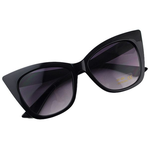 New Coming Mixed Color Over Sized Cat Sunglasses 2015 ($8.90) ❤ liked on Polyvore featuring accessories, eyewear, sunglasses, glasses, black, cat sunglasses, oversized glasses, oversized black sunglasses, over sized sunglasses and cat glasses