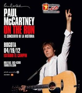 Sir Paul McCartney el compositor de mayor éxito comercial en la historia de la música estará presentando su gira 'On The Run' en Bogotá el próximo jueves 19 de abril, tras una serie de conciertos para no olvidar alrededor del mundo.